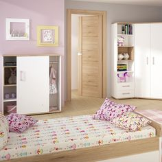4Kids Light Oak And White 4ft Small Double Bed   Under Drawer With Lilac  Handles #