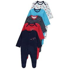 5 Pack Assorted Sleepsuits | Baby | George