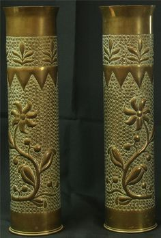 ANTIQUE SHELL CASE BRASS VASES BELGIAN MILITARIA TRENCH ART 1918