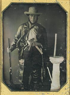 """ca. 1849, [daguerreotype with applied color, handwritten note inserted in case, """"Dr. MacBeth in the costume in which he crossed the plains, fleeing from the cholera of which he died""""]"""