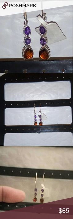 Citrine Amethyst Silver Earrings 2.0 cts Santa Ana Maderia Citrine & Amethyst Platinum Over Sterling Silver Leverback Earings TGW 2.0 carats. #72345. MFSR $140. Citrine Birthstone for November.  The Merchant's Stone for its properties of increase in the cashbox, sparkling yellow Citrine not only assists in acquiring wealth, but helps in maintaining it.[Melody, 209]It is a stone of abundance and manifestation, attracting wealth and prosperity, success and all things good. It also encourages…