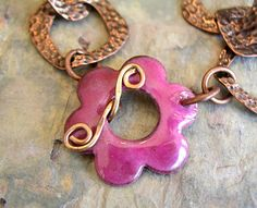 Love this!! Enamel Flower Toggle in a Yummy Pink Color  Handmade for your jewelry designs - Made to order