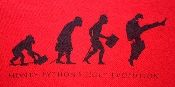 And now for something completely different. Killer Monty Python t-shirt - Holy Evolution. Evolution to the Minister of Silly Walks! Bright red with the evolution in black on the front. Mint condition. 100% cotton and it's a large.