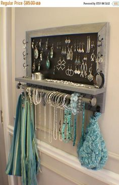Jewelry Organizer You Get To Pick The Stain, Mesh and Hook Color, Scroll Trim Series Wall Mounted Jewelry Organizer - Bathroom Organization - 9 Easy DIY Projects that are inexpensive and easy to complete. Many require no tools, just some creativity! Wand Organizer, Wall Mount Jewelry Organizer, Bracelet Organizer, Organizers, Diy Jewelry Holder, Jewelry Hanger, Jewelry Stand, Diy Earring Holder, Diy Necklace Holder