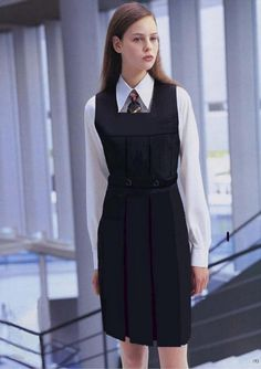variation as desired by ever gymslip with standard belt This with a pleated skirt part that some girls would wear mine was this ugly School Uniform Outfits, Cute School Uniforms, Uniform Dress, Girls Uniforms, School Girl Dress, School Dresses, Women Wearing Ties, Girls Pinafore Dress, Top Mode
