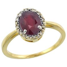 10k Yellow Gold Natural Enhanced Ruby Ring Oval 8x6 mm Diamond Halo, 1/2 inch wide, size 8.5