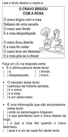 ATIVIDADES PARA EDUCADORES: Cantiga O CRAVO BRIGOU COM A ROSA Portuguese Language, Learn Portuguese, Too Cool For School, Bullying, Homeschool, Teaching, Education, Poetry Activities, Writing Activities