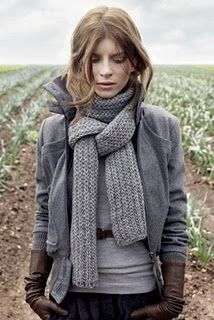 Neutrals/layering/natural fibers.  Classic simplicity. Skinny belt, pushed up sleeves and leather gloves add edge.