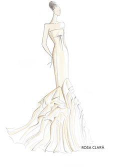 fashion illustration - wedding dress - rosa clara - bridal sketch