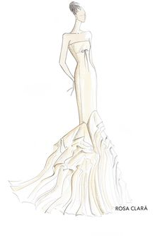 fashion illustration - wedding dress - rosa clara - bridal sketch