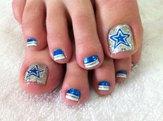 Just for the hubby i would do this.its his team but I dont care for sports.. Dallas Cowboys toe nail design- by Fancy Nails of Irving. Irving, Texas