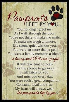Beautiful words of sympathy for the loss of a dogs or cat. wall plaque featuring our Pawprints Left by You poem written by Teri Harrison. Our pet loss poem is the ideal gift for those coping with the loss of a pet. Pet Loss Quotes, Pet Quotes Dog, Dog Death Quotes, Lost Dog Quotes, Dog Loss Poem, Quotes For Dogs, Pet Memes, Dog Quotes Love, Dogue De Bordeaux