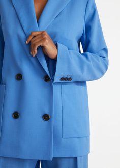 Boxy Wool Blazer - Blue - Blazers - & Other Stories GB