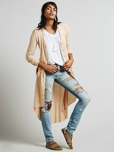 Free People Ribbed Up Maxi Cardigan, - less ripped up jeans but love their v-neck tees