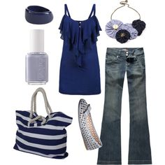 in the navy by htotheb on Polyvore featuring RSQ, Zalando, WeSC, Fantoosherie, John Lewis, Essie, navy, horizontal stripes, white and blue