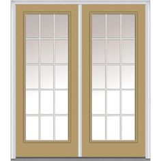 Milliken Millwork 66 in. x 81.75 in. Classic Clear Glass GBG Full Lite Painted Fiberglass Smooth Exterior Double Door, Sandal
