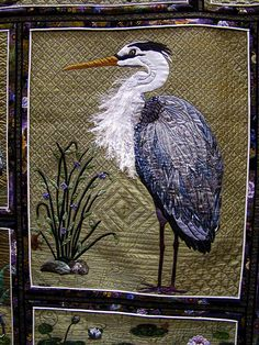DSC02702 Quilt 1086 Heron Happiness by Kathy McNeil heron detail