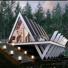 "Architektur How Fit Is Your Kid I read an article the other day entitled ""How Fit is Your Kid? Cottage In The Woods, Cabins In The Woods, House In The Woods, Tiny House Cabin, Tiny House Design, Modern House Design, Cabin Design, Tiny Houses, Triangle House"