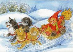 Troll, Christmas Images, Christmas Cards, Dashing Through The Snow, Yandex, Fairies, Illustrators, Brownies, Woodland