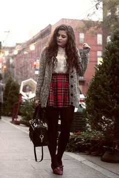Plaid and cozy cardigans make for a cute festive look.
