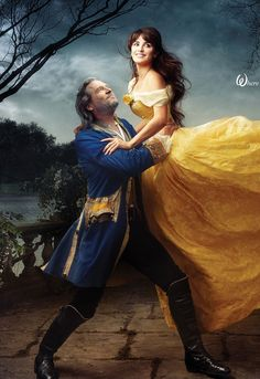 For the life of me, I will never understand why Annie Leibowitz did this Disney collaboration series. She is way more creative and artistic than this... oh well.    Jeff Bridges & Penelope Cruz playing Beauty and the Beast for Annie Leibowitz