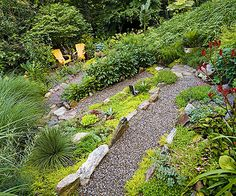 Create a simple, winding path through your backyard using gravel lined by larger rocks. Better yet, have the path lead to a secluded sitting area. This backyard's lush plantings create the feeling of a nature hike.