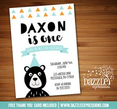 Printable Modern Black Bear Birthday Invitation | Grizzly | Rustic Woodland | Teddy Bear | Retro | Tribal | Boys 1st Birthday Party Idea | FREE thank you card included | Printable Matching Party Package Decorations Available! Banner | Signs | Labels | Favor Tags | Water Bottle Labels and more! www.dazzleexpressions.com