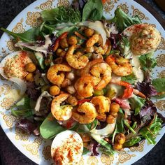 Curry Spiced Chickpeas and Shrimp over Field Greens with a Creamy Mandarin Ginger Dressing. This spicy salad is perfectly complimented  by delicious deviled eggs. Yum! #grainfree #glutenfree #glutenfreelife #cornfree #cornlight #spicy #salads #chickpeas #shrimp #healthy #paleofriendly #huffposttaste #yummyinmytummy #yum #foodie #eatclean #eatyourgreens #eatyourveggies #vegenaise #ginger by cornfreecontessa