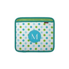 Colorful Polka Dots  Monogram iPad Sleeve