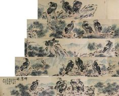 Painting of a group of eagles; Chinese ink and water colour on paper; signed Li Kuchan inscribed with one artist seal; Vintage Art, Vintage World Maps, Chinese Scroll, Watercolor Flowers, Eagle, Aesthetics, Asian, Collections, Ink