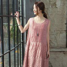 Summer Casual Arts Linen Dress