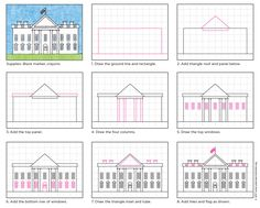 Draw the White House. My PDF tutorial is designed to help students as young as 1st grade draw this fairly detailed building. #symbols