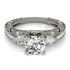 Transcendent Brilliance 14k Gold 1 1/4ct TDW White Diamond Antique Style Engagement Ring (F-G, VS1-VS2) (White - Size 8.75), Women's, Rose