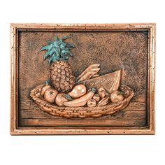 Design Tuscany Mediterranean Tropical Fruits Backsplash & Mural Tile, Copper, As Shown Tuscan Design, Copper Kitchen, Tropical Fruits, Italian Style, Kitchen Backsplash, Tuscany, Pewter, Hand Carved, Vintage World Maps