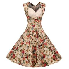 ACEVOG Women's Vintage 1950's 'Audrey Hepburn' Style Floral Print Rockabilly Party Swing Dress