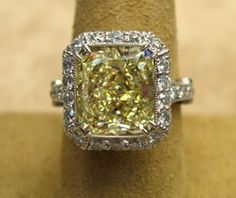 Fancy Yellow Diamond center stone is 5.61ct  -  Platinum & 18K gold  -  00354 Ring 5.61ct FLY  - Jewelry4Millionaires.com  (02.08.14)