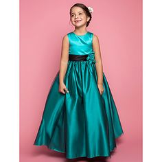 A-line Princess Jewel Floor-length Satin And Tulle Flower Girl Dress (733951) – for my daughter