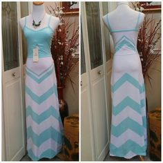 CLOSET CLEAR OUT SALE!  Mint Chevron Maxi Dress Mint/White Chevron Maxi Dress with peakaboo detail in the front. Cotton/Spandex Material Small  Stretchy  NO TRADE. NO PAYPAL. NO HOLD. Dresses Maxi
