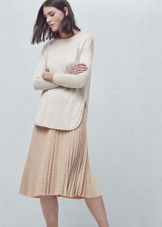 Pleated midi skirt - Skirts for Woman | MANGO Lithuania