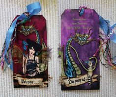 Tag art swap, theme: Fairies & Fauna rosesonmytable.ning  The Dragon's Lair (front and back) - the dragon mistress has transparent wings backed with fantasy film with changes color in the light.