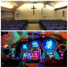 another great week, sharing the Gospel with the families around Lansing, NY here's a before/after shot of our invasion at Asbury Church (unique setup this week. the set was built on an angle to accommodate the L shaped sanctuary) :-) #AlienChurchMakeover #KidzturnChurchMakeover