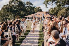Here comes the bride | fabmood.com #wedding #backyardwedding #fallwedding #sunflowerthemed