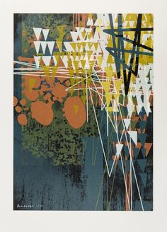 """""""Abstract"""" by Ben Dodge. Screenprint on Paper, Subject: Abstract and non-figurative, Abstract style, From a limited edition of 55, Signed and numbered on the front, Size: 50 x 70 cm   /  42 x 59 cm (actual image size), Materials: Printed on 300gsm Canaletto Grossa using water based inks"""