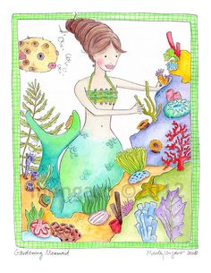 Gardening Mermaid watercolor illustration art by marleyungaro, $15.00. Will be ordering some for my girls' room! How sweet and we love mermaids!