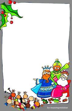 Carta als reis d'orient; by: MPB Noel Christmas, Christmas Paper, Winter Christmas, Christmas Crafts, Christmas Decorations, Kids Group Activities, Christmas Activities, Boarders And Frames, Borders For Paper