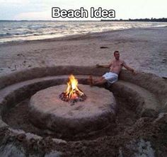 This is the BEST DIY I've seen yet! A DIY bon fire pit with seating carved into the sand. LOL NOW this is how you do a bon fire at the beach lol The Beach, Beach Fun, Beach Trip, Beach Bonfire, Beach Ideas, Beach Night, Sand Beach, Summer Bonfire, Beach Relax