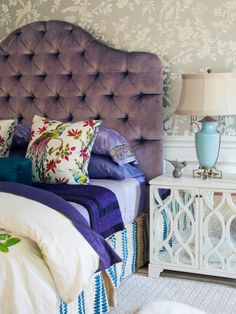 """Inspired by the colors of an Indian sari, designer Robin Pelissier mixed a range of patterns in shades of lavender and blue to create a look that's luxurious and personal. """"We wanted the homeowner to feel like a queen,"""" she says. """"We looked at pictures of Indian-inspired wedding dresses to create this richly-detailed space."""""""