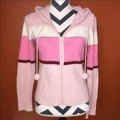 Tilt Sweaters - Tilt Pink Fuzzy Zip Up Sweater Large