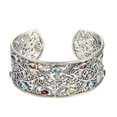 Multi Stone Decorative Cuff in Yellow Gold amp; Sterling Silver. (Amethyst, blue topaz, citrine, garnet, rhodolite and peridot stones.) |Jewelry - Daily Deals|