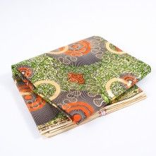 Green+and+Orange+Waxed+Cotton+African+Print+with+Gold+Metallic+Foil